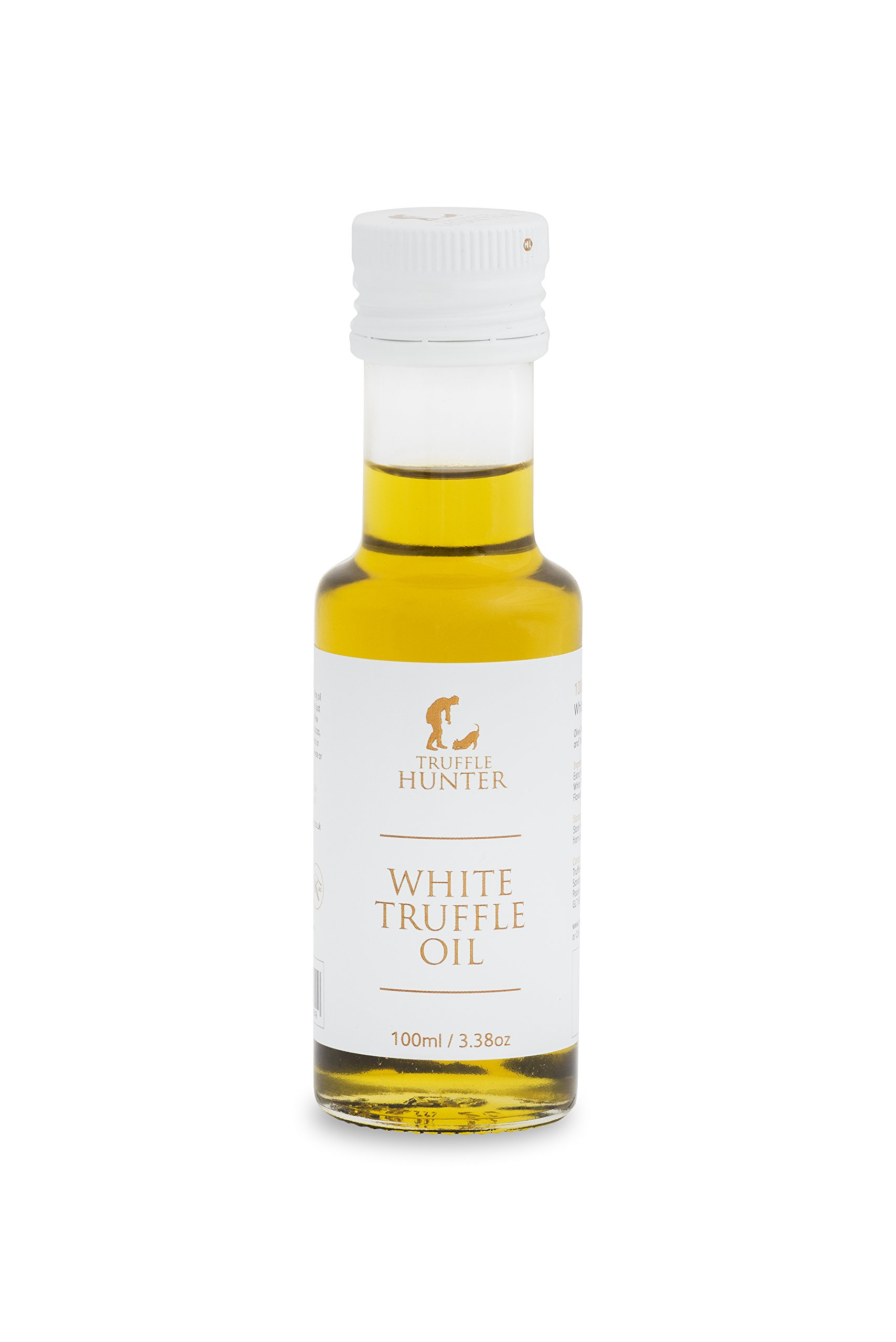 TruffleHunter White Truffle Oil (Tuber Borchii) Real Truffle Pieces Cold Pressed Extra Virgin Olive Oil (3.38 Oz) Gourmet Food Seasoning Marinade Salad Dressing - Vegan Kosher Vegetarian & Gluten Free