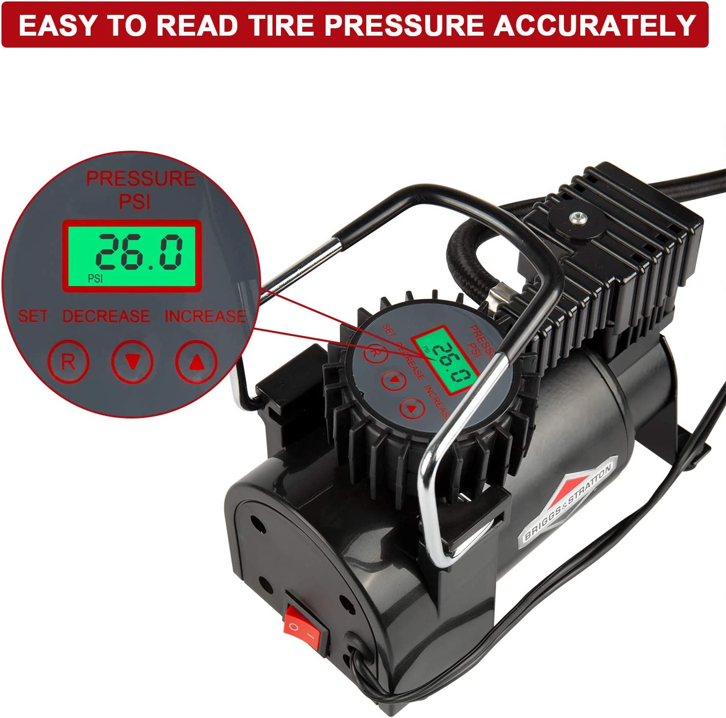 BriggsStratton Tire Inflator BS-IN210DC 12V DC Car Tire Pump with Digital LCD Display,Portable Air Compressor Pump Built-In Tire Pressure Gauge,35L//M 120 PSI Air Pump w//Extra Nozzle Adaptor for Ball