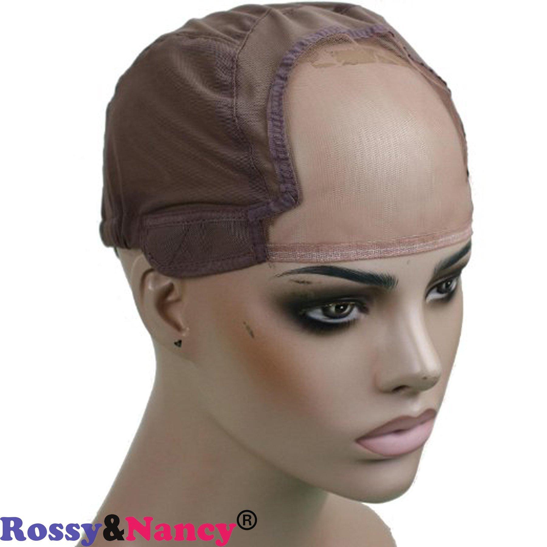 Rossy&Nancy Best Gluess Silk Swiss Lace Net Ear to ear stretch wig caps with adjustable straps for making Wigs by Rossy&Nancy