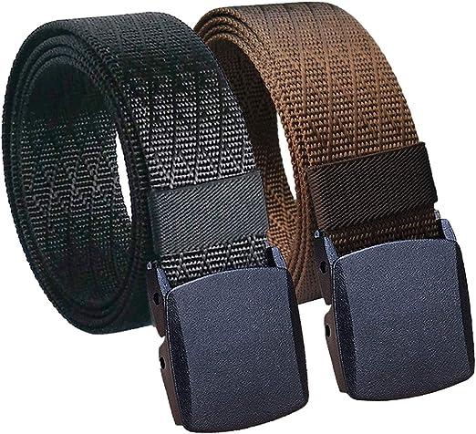 2 Pack Nylon Belt Tactical Waist Belt Military Web Men Belt with No Metal Buckle