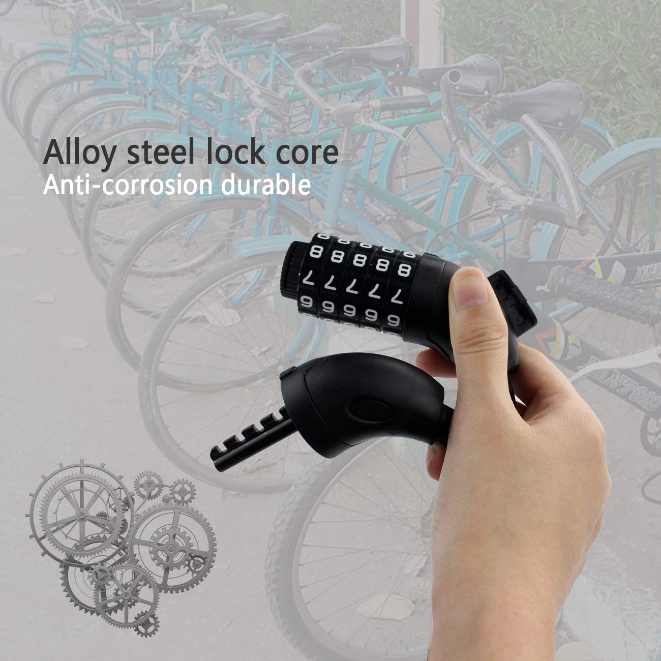 Yolyoo Bike Lock with 5-Digit Resettable Number,150cm9*12mm Heavy Duty Chain Lock for Bicycle, Scooter, Sports Equipment, Grills
