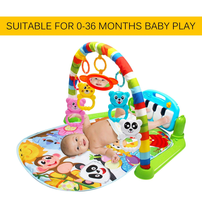 FairytaleMM Alfombra de Juego Multifuncional para bebé s Juguete de Gimnasio para niñ os pequeñ os Alfombra de rastreo de Suelo con mú sica Pedal de Piano Marco de Ejercicios Juguete para bebé s, Verde