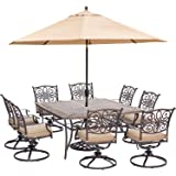 """Hanover Traditions 9 Piece Dining Set in Tan with 60"""" Square Dining Table, 11' Umbrella and Umbrella Stand"""