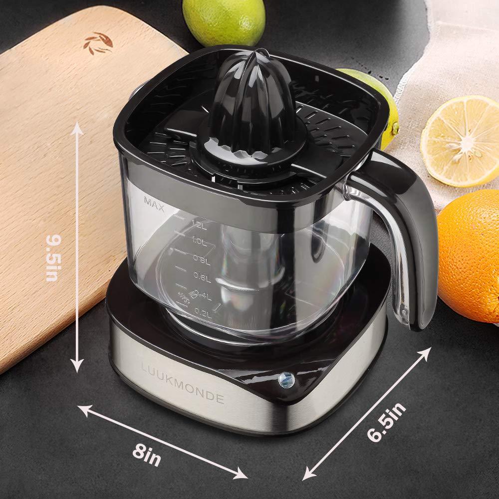 Spremiagrumi elettrico 1,2 L grande volume con due coni Spremiagrumi in acciaio inox resistente, potente motore per Fresh Orange Lemon con luce LED di LUUKMONDE
