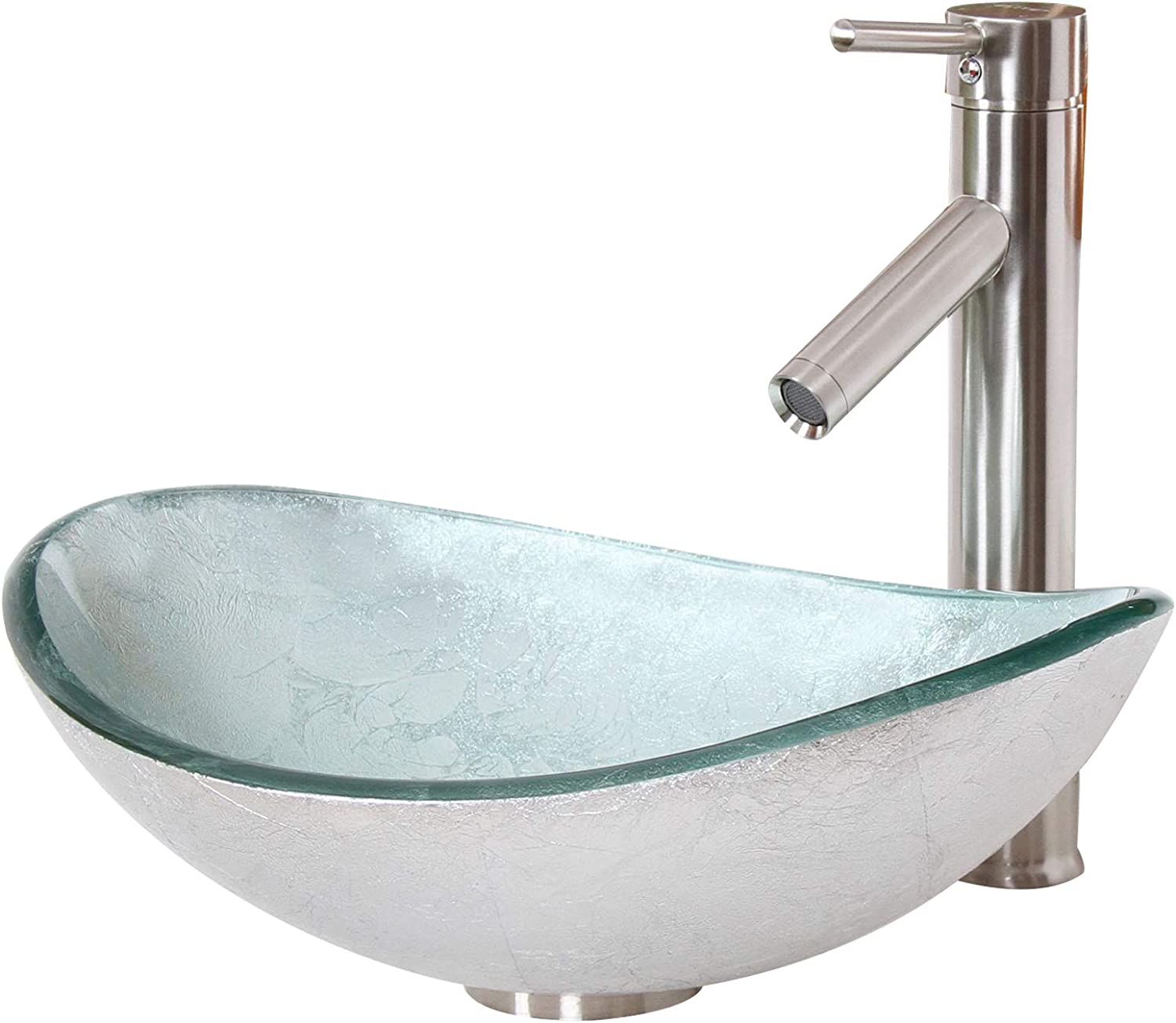 ELITE Unique Oval Silver Tempered Glass Bathroom Vessel Sink Brushed Nickel Faucet Combo