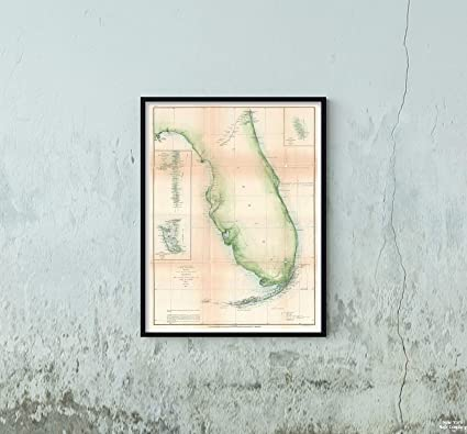 Amazon.com: 1861 U. S. Coast Survey Chart or of Florida Map|Vintage ...