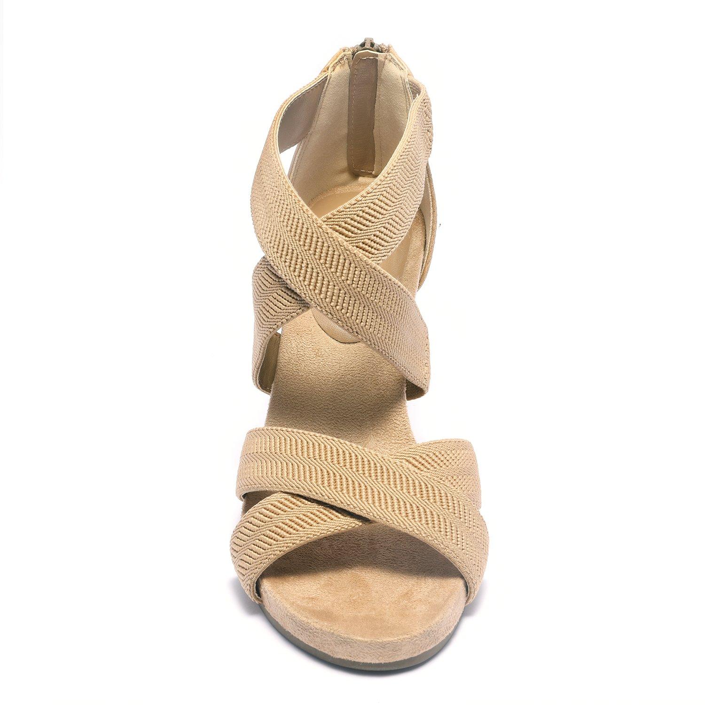 TOETOS Women's Solsoft_15 White Low Platform Wedges Back Zipper Sandals Size 8.5 B(M) US by TOETOS (Image #4)