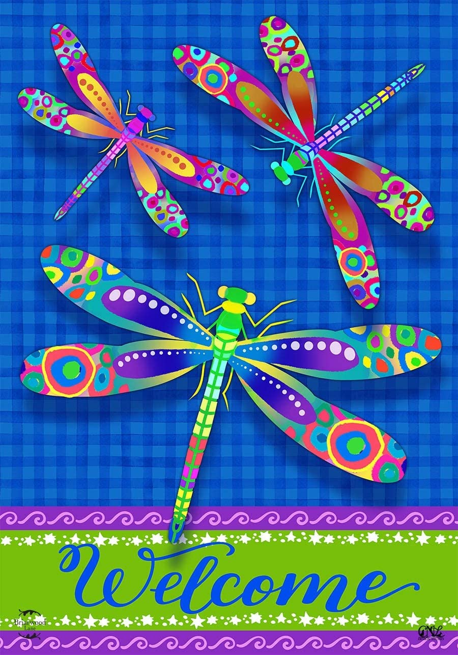 Briarwood Lane Colorful Dragonflies Summer Garden Flag Welcome Dragonfly 12.5
