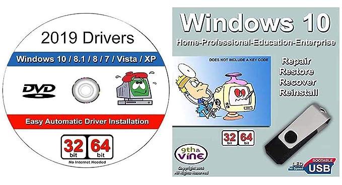 9th & Vine Windows 10 Home, Professional, Education, Enterprise 32-64 Bit  Install | Boot | Recovery | Restore USB Flash Drive & 2019 Windows DVD