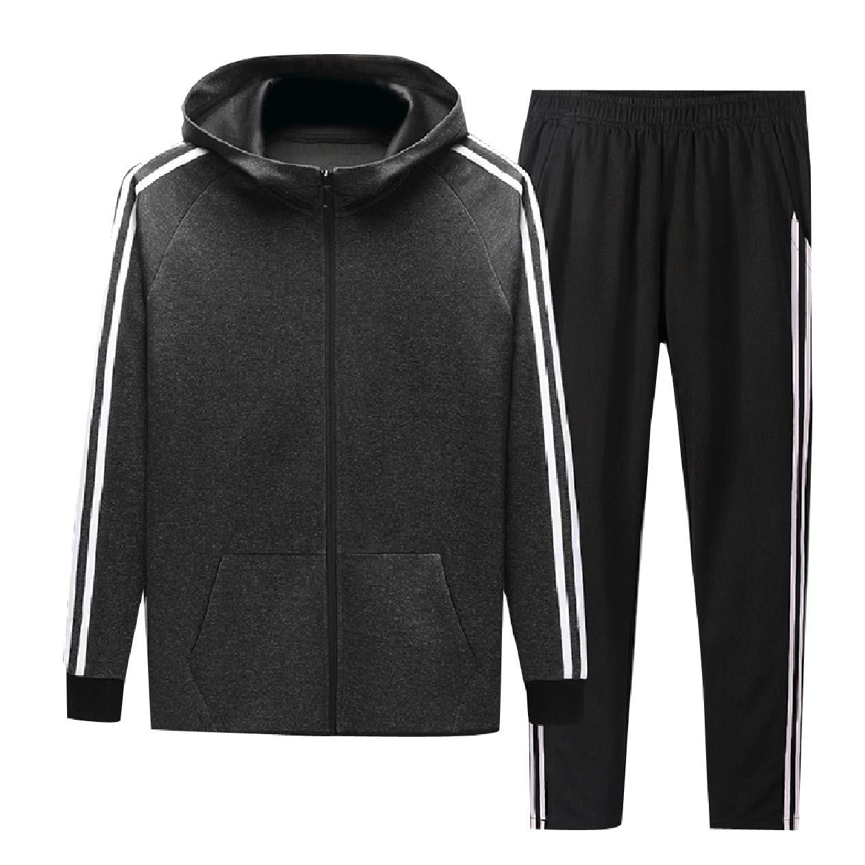 Dark Grey Unastar Men FullZip 2 Piece Set Jogger Fall Winter Active Sweat Suit Set