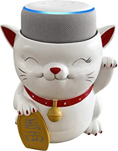 Dekodots Smart Speaker Table Stand (Waving Cat) - Decorative Holder for Amazon Echo Dot or Google Home Mini - Portable Design, No Sound or Microphone Interference - Durable Poly-Resin