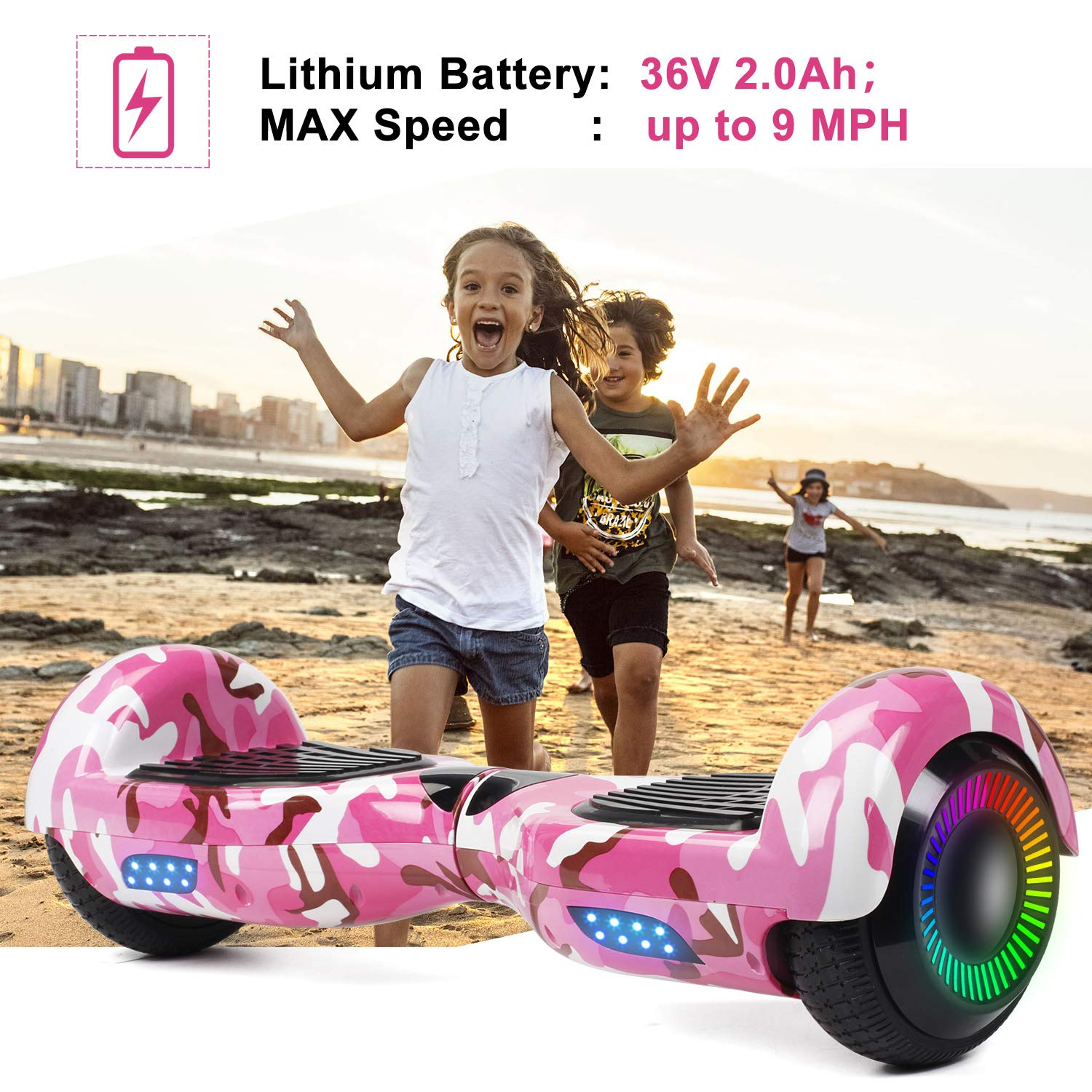 SISIGAD Hoverboard Self Balancing Scooter 6.5'' Two-Wheel Self Balancing Hoverboard with LED Lights Electric Scooter for Adult Kids Gift UL 2272 Certified Fun Edition - Pink Camou by SISIGAD (Image #3)