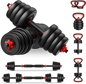 PINROYAL 4 in 1 Adjustable Dumbbell Set, 44LB/66LB/88LB Free Weights Dumbbells Set with Connecting Rod Used as Barbell, Non-slip Handles & Base for Kettlebells, Push up, Fitness Home Gym for Men Women