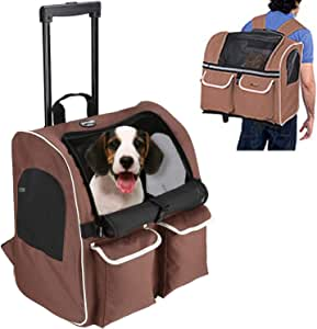 Pettom Pet Rolling Carrier Backpack Dog Wheel Around Cat Luggage Bag Pet Travel Carrier