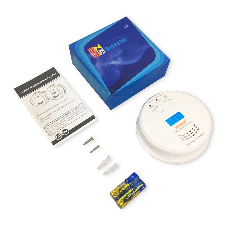 HEIMAN HM-723ESY - Detector de carbono independiente, con alarma, funciona a 3 años, con pantalla LCD: Amazon.es: Bricolaje y herramientas