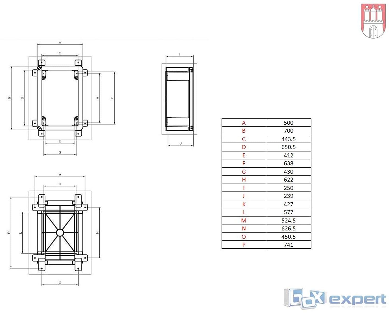 BOXEXPERT Bo/îtier darmoire murale 500x700x250mm IP 65 gris transparent RAL7035 Bo/îtier de distribution darmoire /électrique