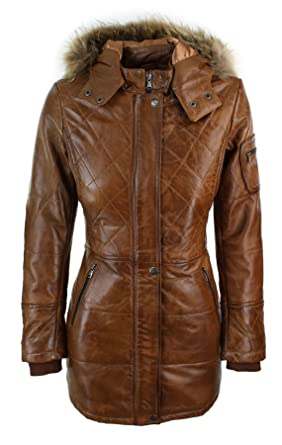 Damenjacke 100% Echtleder Braun Fell Kapuze Parka Design Winterjacke ... b599fdc683