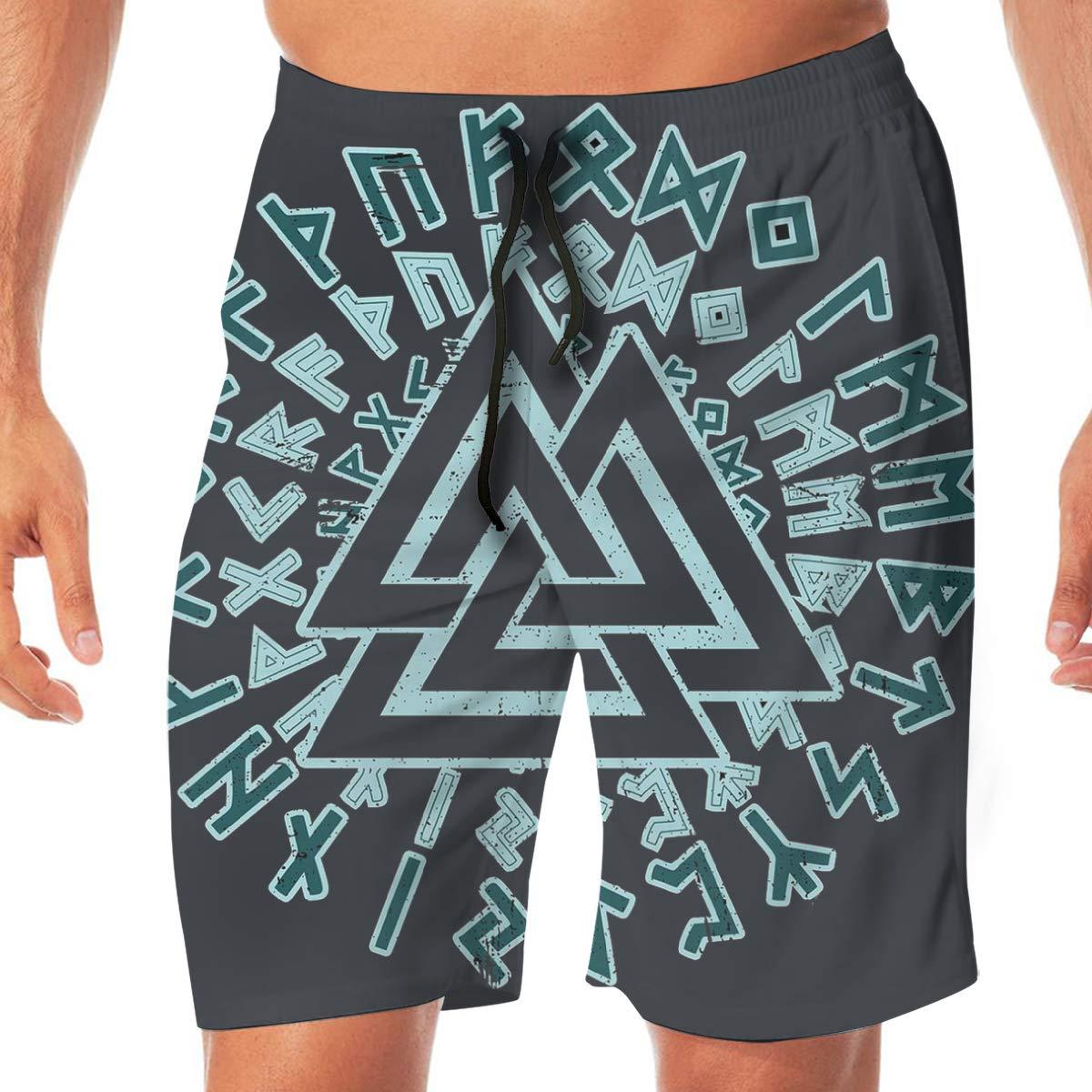 Valknut Symbol Norse Warrior Mens Beach Board Shorts Swim Trunks Beach Shorts