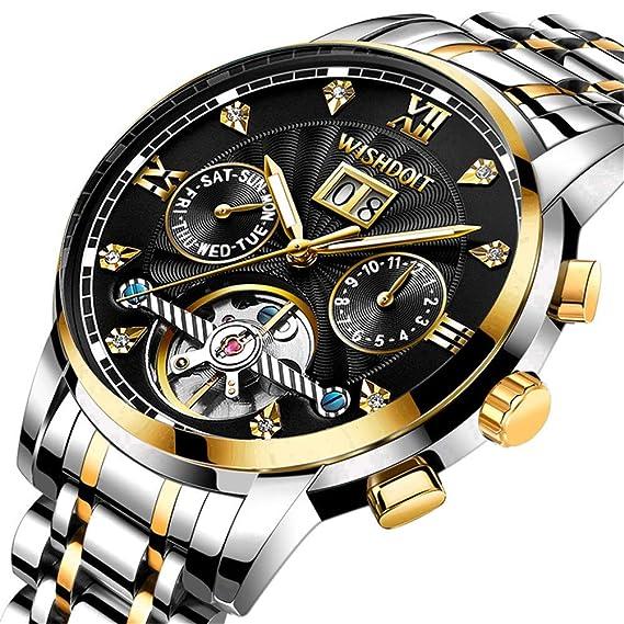 Relojes Hombre Elegante Acero Inoxidable Impermeable Mecánico Automático Reloj Hombre Lujoso Cronógrafo Calendario Militar Casual Relojes de Pulsera