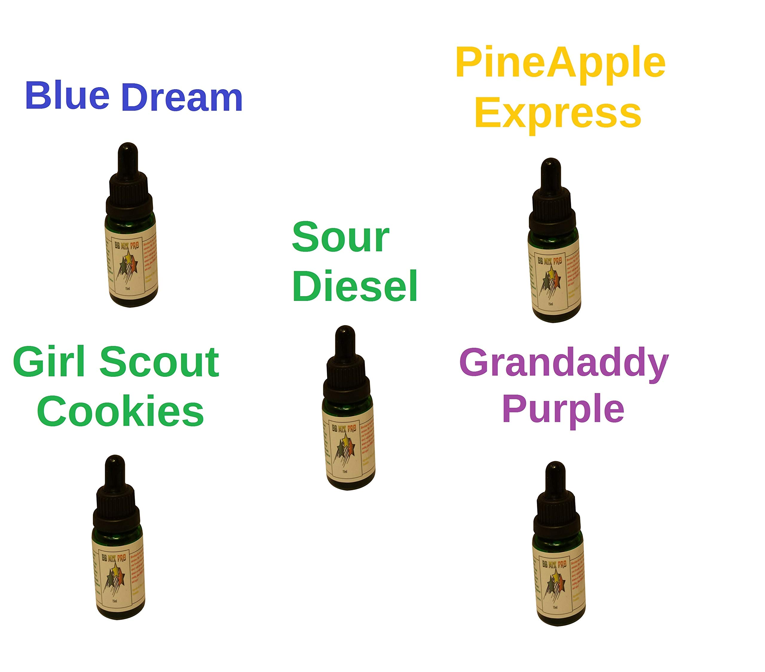5 Pack of 15ml Bottles Terpene Infused Liquidizer 99% Pure Colorado Terpenes Strain Profiles by DJDesigns