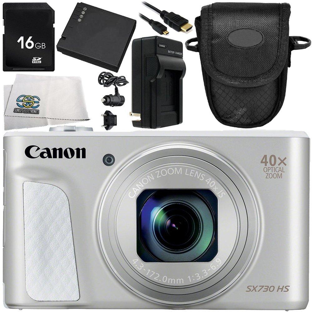 Canon PowerShot sx730 HSデジタルカメラ(シルバー) 7pc Accessory Bundle – Includes 16 GB SDメモリカード+交換用バッテリー+ More – インターナショナルバージョン保証(no)   B071LF77WQ