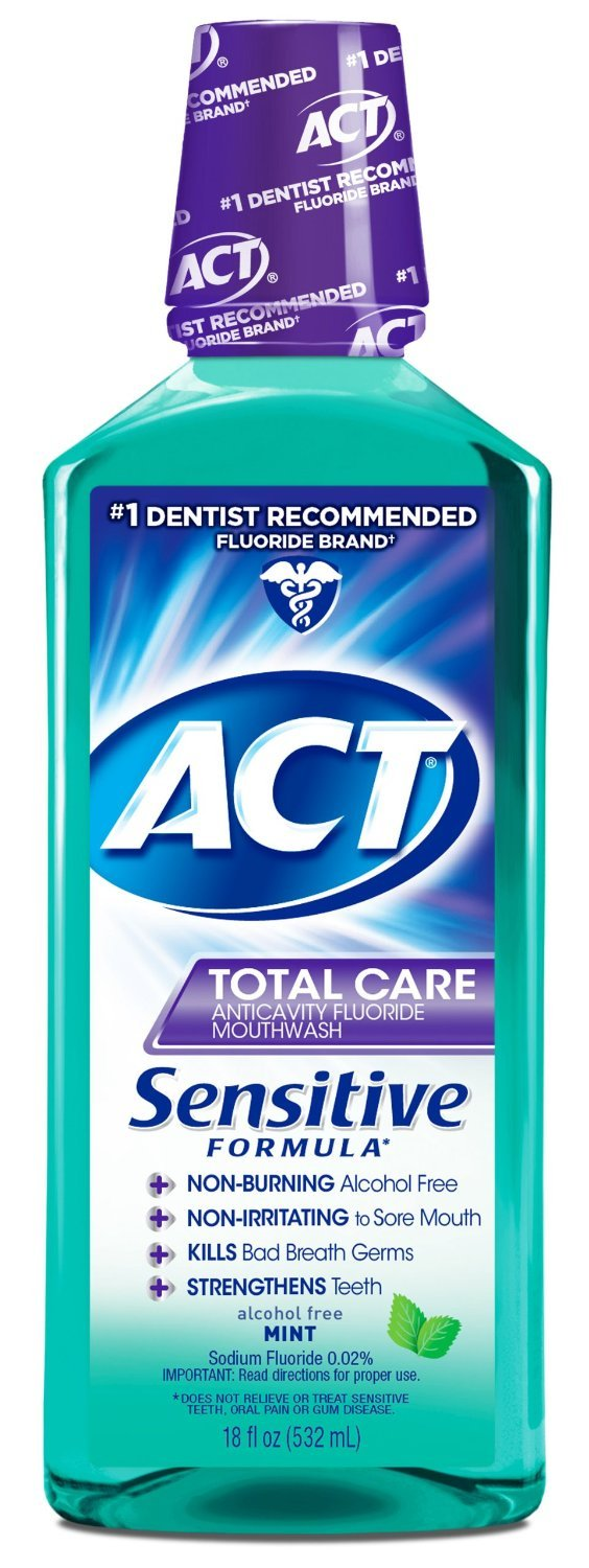 ACT Total Care Anticavity Fluoride Mouthwash, Sensitive Formula Mint, 18 Fluid Ounce (Pack of 24) by ACT