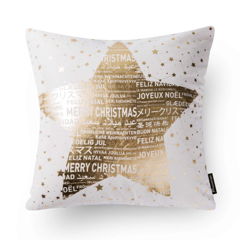 Fantoscopio Decorativo Merry Navidad Funda de Coj/ín Manta Funda de Almohada 18 x 18 Pulgadas 45 x 45 cm Set de 4