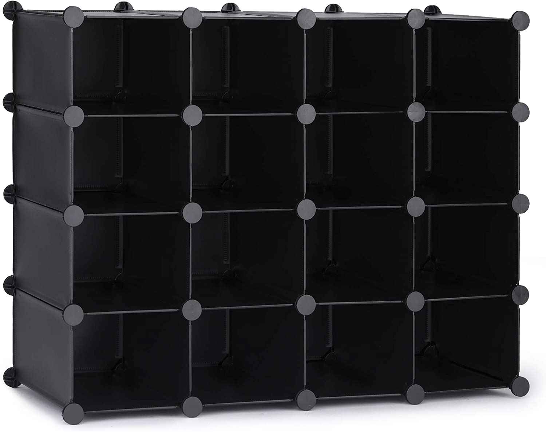 Details about  /16 Cube DIY Plastic Storage Wardrobe Shoe Organizer Shelves Unit Hanging UK