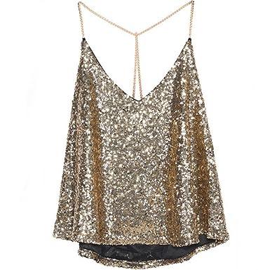 72ec1ee48fc20 ROPALIA Women Sequin Halter Neck Tank Top Vest T Shirt Party Clubwear Gold   Amazon.co.uk  Clothing