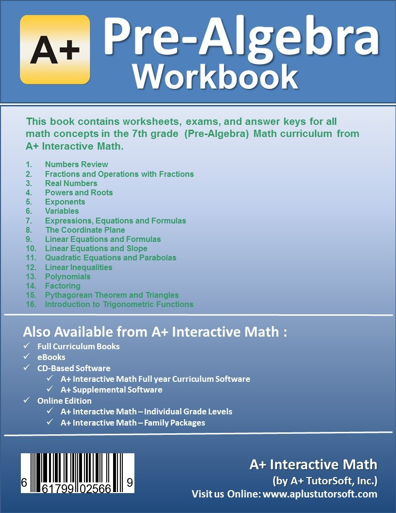 Pre-Algebra (7th or 8th Grade) Math Workbook (Printed B&W Plasti ...