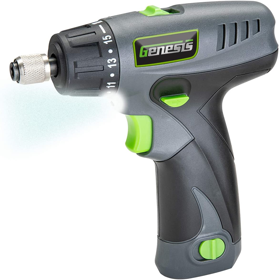 Genesis GLSD08B 8V Lithium-Ion Battery-Powered Quick-Change 2-Speed Cordless Screwdriver with LED Work Light, Battery Pack, Charging Stand, 4 Hex-Shank Drill Bits, and 4 Screwdriver Bits