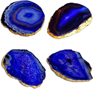 Blue Agate Coasters for Drinks - Set of 4 - Modern Gold Edge Stone Geode Coaster - Agate Slices Random Size 3.5 ~ 4