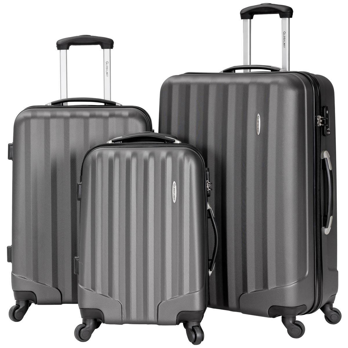 ce0a277964a1 Lightweight 3 Piece Luggage Sets,Durable Hardshell Spinner Suitcase with  TSA Approved Locks
