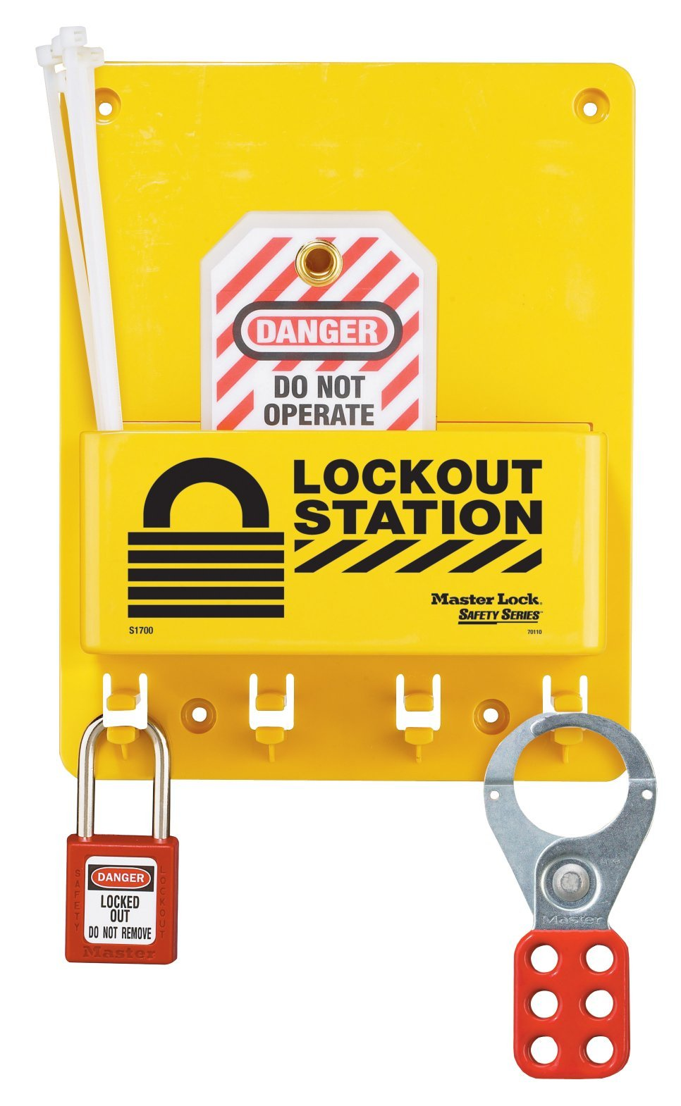 Master Lock S1705P410 Compact Lockout Center With 410RED Zenex Padlock