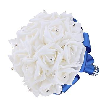 Amazon Com Vlovelife Royal Blue Wedding Bouquet Bridal Bridesmaid