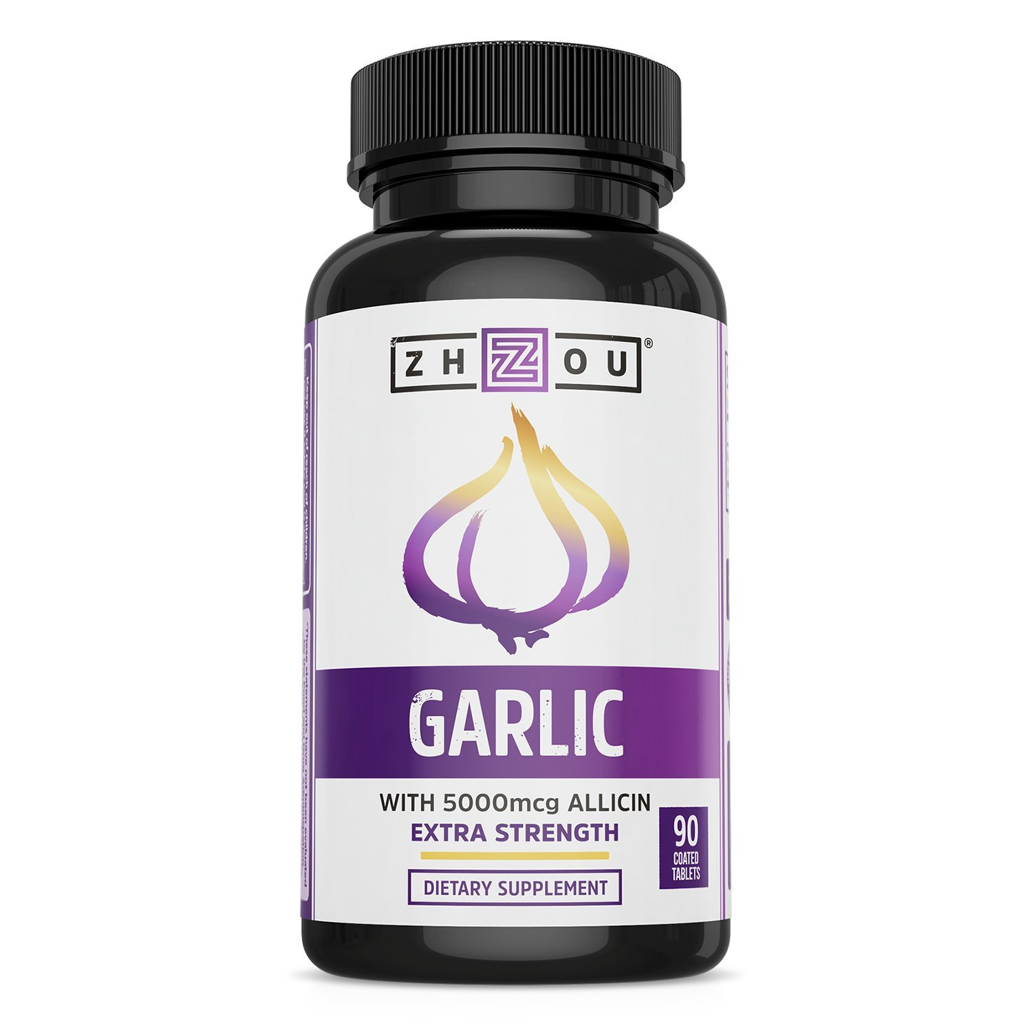 Extra Strength Garlic with Allicin - Powerful Immune System Support Formula - Enteric Coated Tablets for Easy Swallowing - Feel the Allicin Difference - 3 Month Supply by Zhou Nutrition