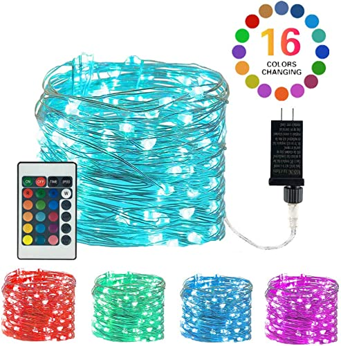 LiyuanQ Plug-in Fairy Lights LED Color Changing String Lights 33 Feet 100 LED 4 Modes Copper Wire Twinkle Starry Fairy Lights Remote Timer Waterproof String Lights for Bedroom Wedding Party Decor