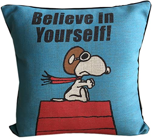 Cute Snoopy Cotton Linen Throw Pillow Car Sofa Back Cushion Home Decorative Pillows 18 x18 Blue