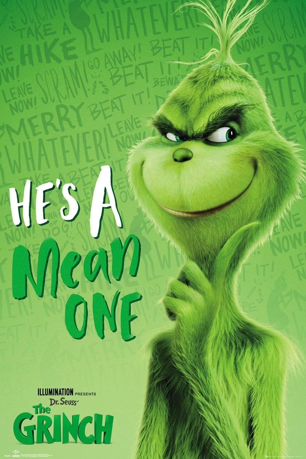 "The Grinch - Movie Poster (Grinch Solo - He's A Mean One) (Size: 24"" x 36"")"