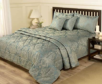 6 Piece Jacquard Blue Gold Bedding King Size Duvet Set