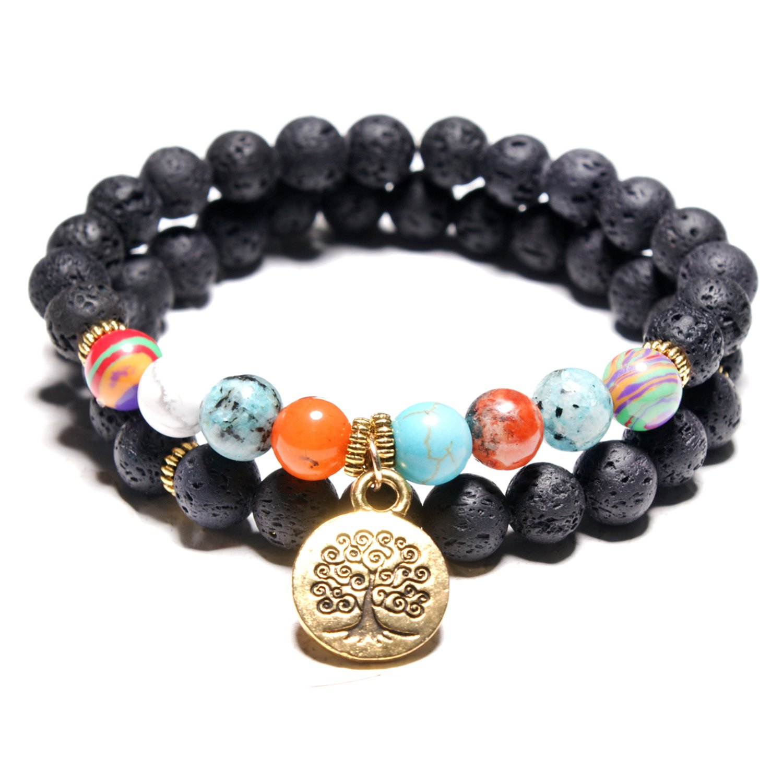 17mile Volcanic Natural Stone Chakra Tree of life Gold Charm Gemstone Bracelet Set Prayer Stone Bracelet Jewelry Accessories for Unisex