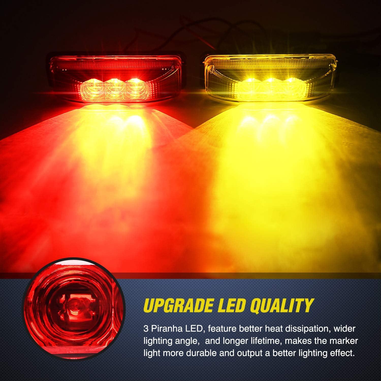TL-33 4PCS 3.9 Inch 3 Led Truck Trailer Light Front Rear LED Side Marker Lights Clearance Indicator Lamp Waterproof Sealed Surface Mounted LED Marker Light Nilight