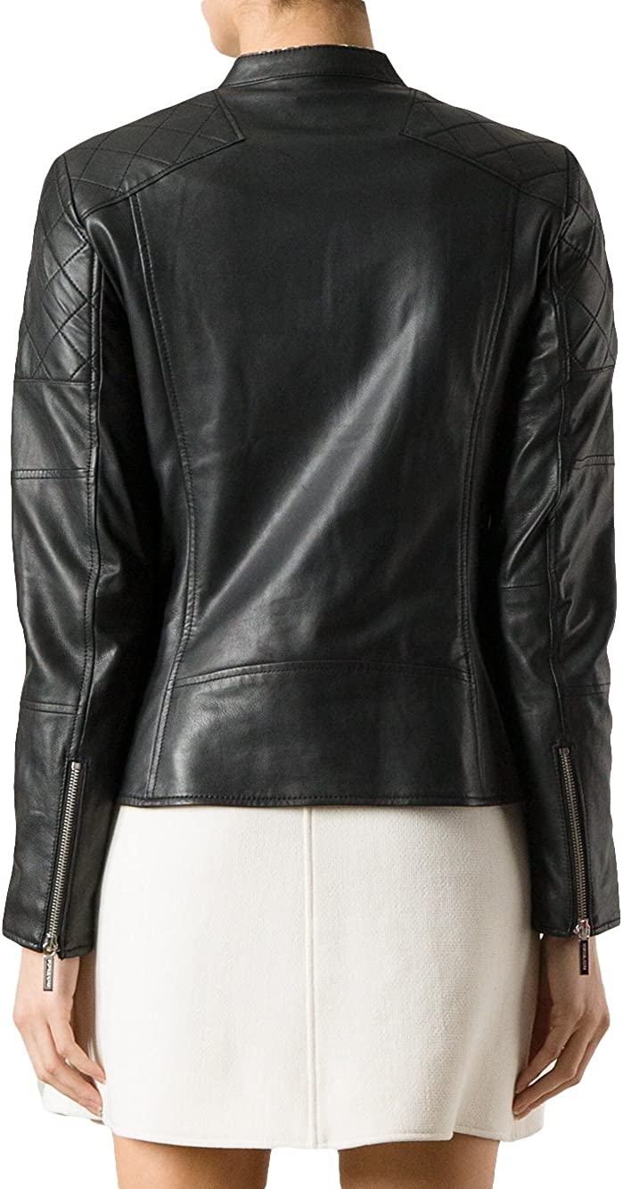 Genuine Soft Lambskin Leather Jacket for Womens Designer Wear LFWN187