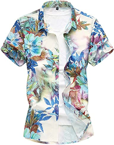 Zhhlinyuan Camisas Flores Hombre Hawaiian Floral Manga Corta Camisas Botón Casual Vacaciones de natación Tops M-7XL Camisa Moderna: Amazon.es: Ropa y accesorios