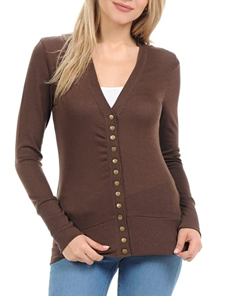 ClothingAve. Women s Snap Button Sweater Cardigan with Ribbed Detail ... a86188f3d