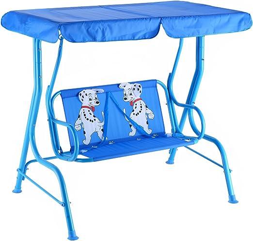 Vengaconmigo - Balancín de jardín de 2 plazas para niños al aire libre, columpio de jardín con cinturón de seguridad y techo impermeable para balcón y terraza, color azul/rojo, azul: Amazon.es: Jardín
