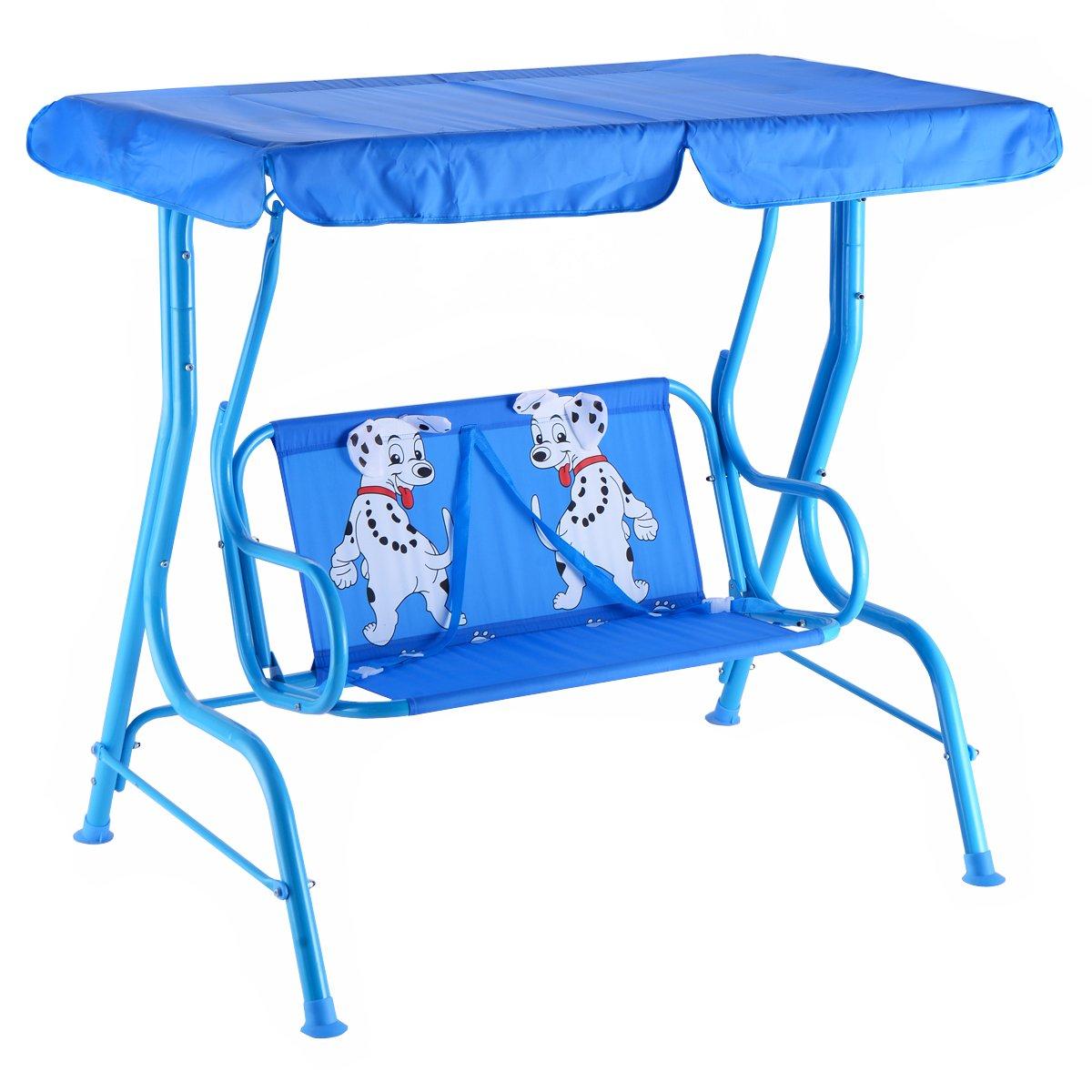COSTWAY Kinder Hollywoodschaukel Kinderschaukel Gartenschaukel Garten Schaukel Gartenliege Schaukelbank Gartenbank mit Sonnendach 2-Sitzer Blau