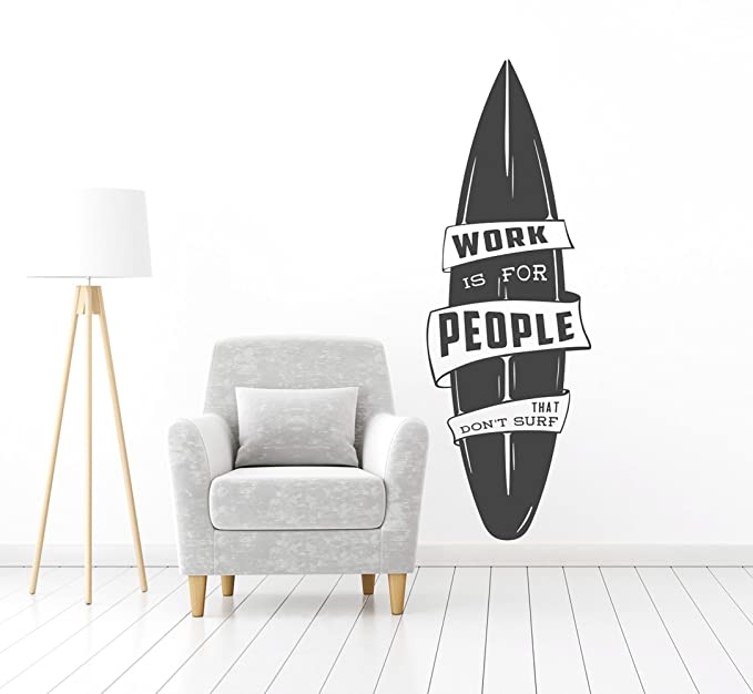 PLAGE Tabla De Surf Work Is For People Decoración Mural Adhesiva Gigante, Vinilo, Negro, 57x0.1x175 cm: Amazon.es: Hogar