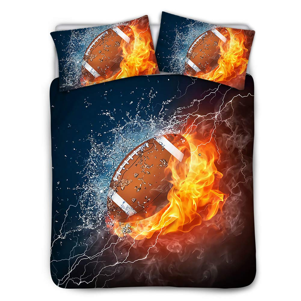 Football in Fire and Water Design Mumeson Sport Theme Duvet Cover Set with Pillowcases Twin 3 Piece Bedding Set for Boys Girls Women Super Soft Polyester Cotton- Beige