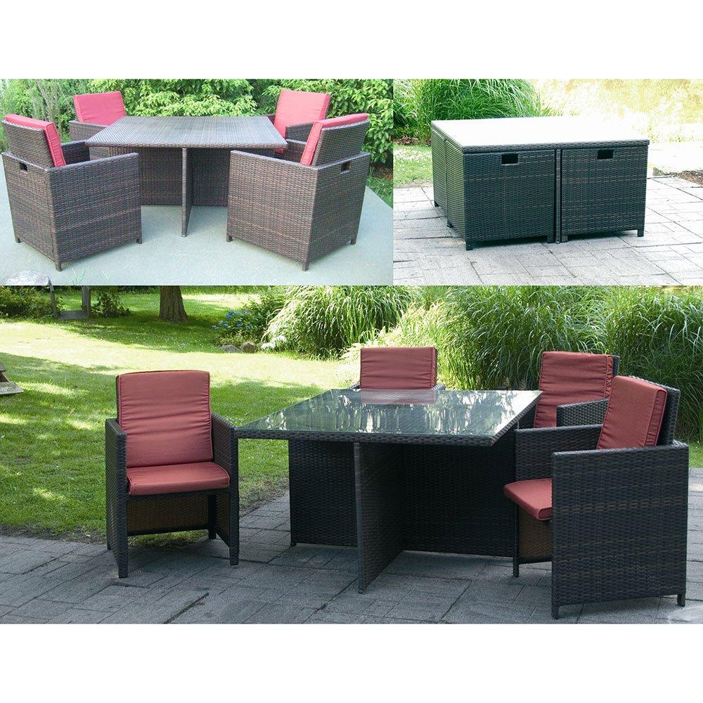 Garden Pleasure Tischgruppe 'Marseille' Gartentisch mit Glasscheibe inkl. 4 Sessel mit Kissen in Rot